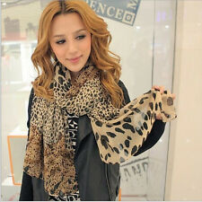Sexy Women Stylish Leopard Print Chiffon Shawl Scarf 1 PC Dark Coffee Color
