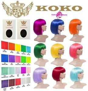 LADIES FULL HEAD WIG NEON COLOUR BOB SHORT STRAIGHT PARTY COSPLAY HAIR KOKO UK