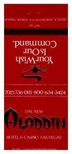 Matchbook Cover NEW ALADDIN Hotel Casino Las Vegas NV Back Strike 30