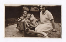 PHOTO ANCIENNE Jeu Jouet Toy Doll Petite Fille 1929 Ours Ourson Famille Brouette