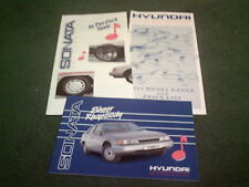 1989 HYUNDAI SONATA GL GLS UK A5 BROCHURE + SONATA ACCESSORIES + UK PRICE LIST