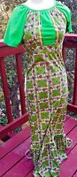 Vintage Hand Made Green Floral Short Sleeve Maxi Dress Size 2 100% Cotton Hippy