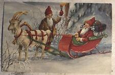 Christmas Postcard ~ Santa Elves Sled Goat God Jul Posted Via Sweden c1979