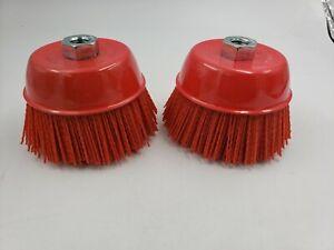 "6"" Cup Brush, Nylon Filament, 5/8""-11 Thread, 2500 max. RPM 2-PK"