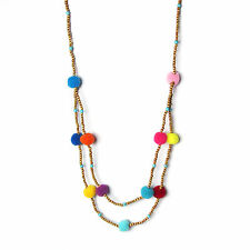 FUN BOLD MULTI COLOR POM POM  DOUBLE WOOD BEADS STATEMENT NECKLACE