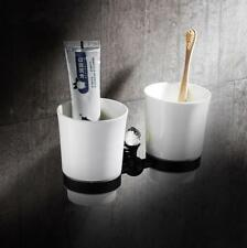 Bathroom Brass Toothbrush Holder Ceramic Double Cup Wall Mounted Storage Shelf