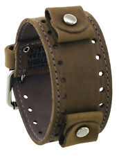 Nemesis STH-CL Chestnut Brown Wide Leather Cuff Watch Wrist Band