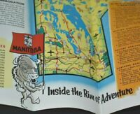 Vintage Manitoba Travel Brochure Canada Map Anthropomorphic Buffalo Vacation