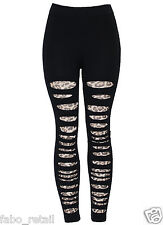 New Ladies Women's Black Fashion Leopard print Lace Ripped Leggings size 8-14
