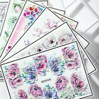 3D Engraved Flower Nail Sticker Embossed Water Decal Empaistic Water Slide Decal