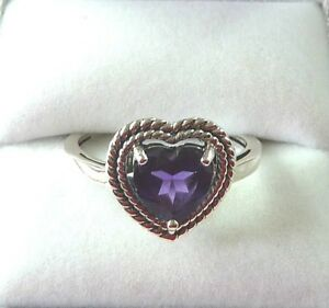 1.74 ct  Natural Heart Cut Purple Amethyst Solid Sterling Silver Solitaire Ring