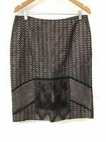JACQUI E Black Mesh Lace Knee Length Straight Skirt - Size 12