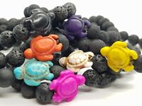 Volcanic Ocean Turtle Bracelet Malachite Beaded Boho 8mm Stone Beads Beach Yoga