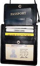 New Black Leather passport cover, Card case ID Holdert case W/ neck string BNWT*