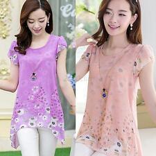 Sexy Womens Floral Print Long Tops Tee Shirt Top Chiffon Blouse Plus Size S-XXL