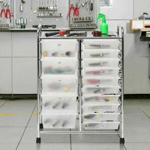 Clear 15 Drawer Organizer Cart Chrome Rolling Storage Craft Office Utility