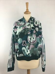 ADIDAS Smiley Face Cropped Hoodie Trefoil Size 16 UK Oversized Camo Cropped