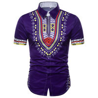 Men's Dashiki Shirt African Clothing Hippie Top Short Sleeve Boho Vintage Blouse