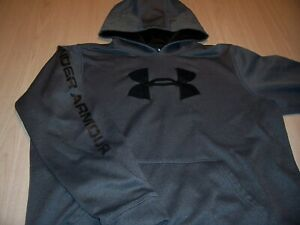 UNDER ARMOUR LOOSE FIT LONG SLEEVE GRAY/BLACK HOODIE BOYS XL 18-20 EXCELLENT