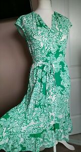 Gorgeous Phase Eight Tea Dress Green Floral Tiered Size 12 Belted Tie Sleeveless