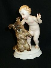 1930s Rosenthal Porcelain Figuring Boy Putti with Dog Fritz #435