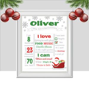 Personalised Print for Babies First Christmas, Santa Baby Gift, Xmas Keepsake