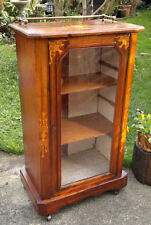 c1870 Antique Victorian Inlaid Music Display Cabinet with Brass Gallery