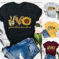Women Blouse O Neck Short Sleeve Sunflower Letters Print Loose T-shirt Top New