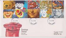 GB Royal Mail FDC 1990 saludos sonrisas sello conjunto Pegatina Truro PMK Po