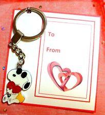 """Cool Dude"" Snoopy Romantic Valentine Enamel Charm Pendant Key-ring Gift Card"