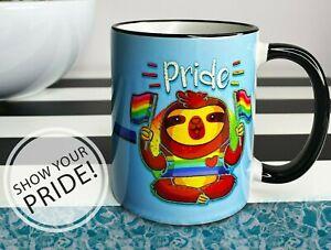 Funny LGBT Sloth Rainbow Gay Pride Coffee Mug Rainbow Flag Quote Cup