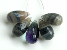 Natural Fluorite Faceted Teardrop Briolette Semi Precious Gemstone Beads 001