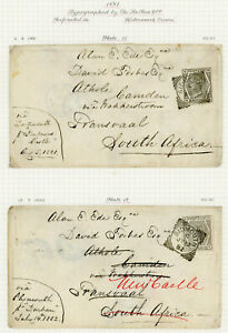 1881 + 1882 covers with 6d grey Pl. 17+18 to Transvaal tied superb SIDMOUTH d/s