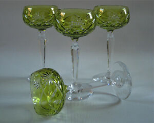 SET of 4 - VAL ST LAMBERT - Cased Cut to Clear Crystal Wine Stems - Bonn Fantasy