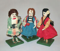 "Old Vtg Ca 1940s Group Three Hand Made Folk Art Cloth Dolls 10"" Tall Very Nice"