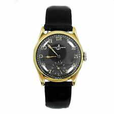 VINTAGE ULYSSE NARDIN 14K GOLD PLATED BLACK DIAL LEATHER AUTOMATIC MENS WATCH