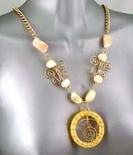Shabby Chic Deco Nouveau Floral Gold Plate Scroll Wirework Renee Flower Necklace