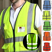 New Large Security Zipper Waistcoat With 4 Vest Reflective Visibility Safety