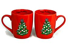 New listing Dog Coffee Mugs Cups Christmas Red Happy Pawlidays Treat Tree 16 oz Set of 2 New