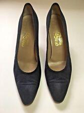 Vintage Salvatore Ferragamo Size 11 AA Navy Suede Textured Round Toe Heel Pump