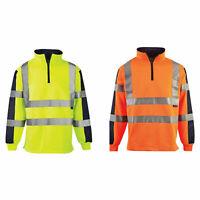 Hi Vis Viz Two Tone Rugby Shirt Sweatshirt Safety Security Workwear Jumper top