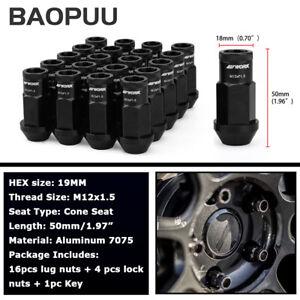 20pcs M12x1.5 Spline Lug Nuts Lock Nuts Aluminum Black 50mm Open End with Key