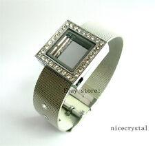 Square Living Floating Locket + 18mm Stainless Steel Wristband charm bracelet