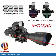 4-12X50 EG Tactical Rifle Scope with Holographic 4 Reticle Sight & Red Laser AP