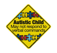 Magnetic Bumper Sticker - Autistic Child Warning (Autism Awareness) - Magnet