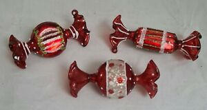 """Candy Pieces Blown Glass Ornament Set 3 Red White Christmas Decor 4"""" Ganz"""