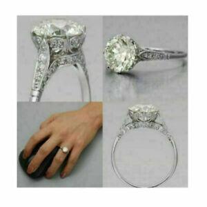 Handmade Vintage Style Ring White Gold Plated OEC Wedding Engagement Ring Women