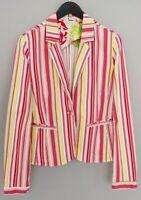 Women Tommy Hilfiger Blazer Jacket Cotton Blend Striped Pink Casual XL UK16 QDA7