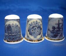 Birchcroft China Thimbles -- Set of Three -- Blue Delft Designs