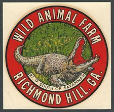 "VINTAGE ORIGINAL 1949 GOLDFARB ""WILD ANIMAL FARM"" RICHMOND HILL GA DECAL ART"
